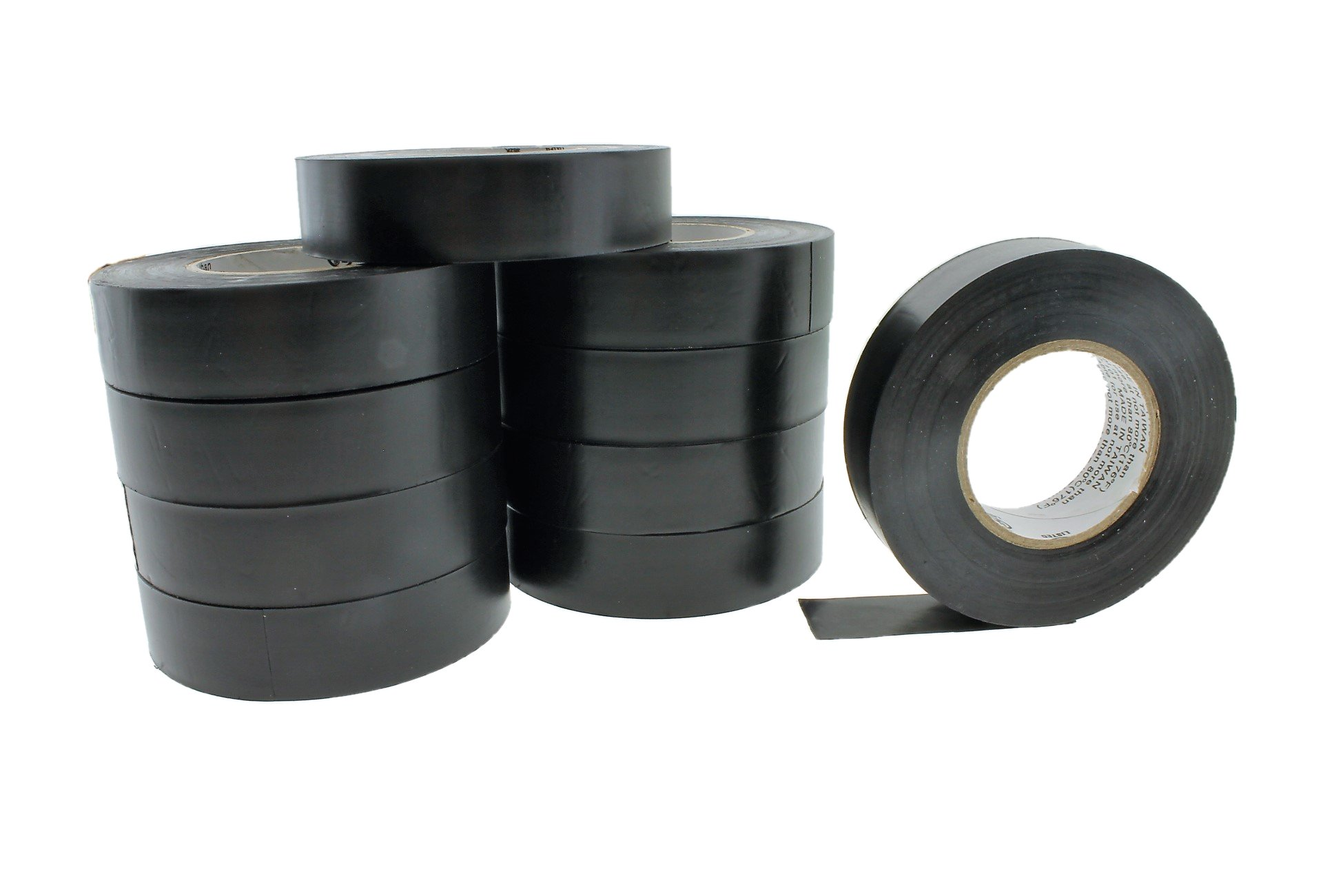 10pk 3/4'' BLACK UL Listed 600v Electrical Tape Supreme Durable .75 Pro-Grade Wire harness PVC Vinyl Marking Labeling Coding Warning Safety Flame Retardant 60' 7 mil
