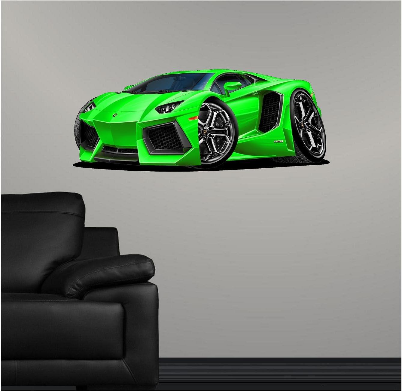"36"" Lamborghini Aventador Green Wall Decal Cartoon Car 3D Sticker Mural Kids Room Sports Den Man Cave Boys"