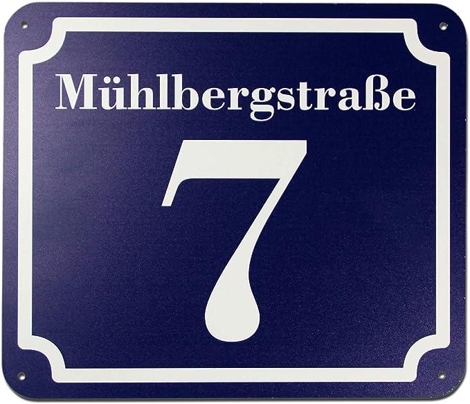 Emaille Hausnummer Nr 24 weisse Zahl auf blauem Hintergrund 12 cm x 10 cm