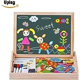 Uping magnetisches Holzpuzzle Staffelei doppelseitige Tafel Holzbrett Doodle 70 Stücke für ab 3 jahre Kinder - Alltagszenen und Menschen