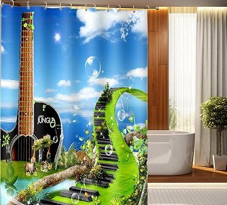 MJEL Impermeable contra molde poliester 3D Digital impresión guitarra música vista baño cortina de ducha .