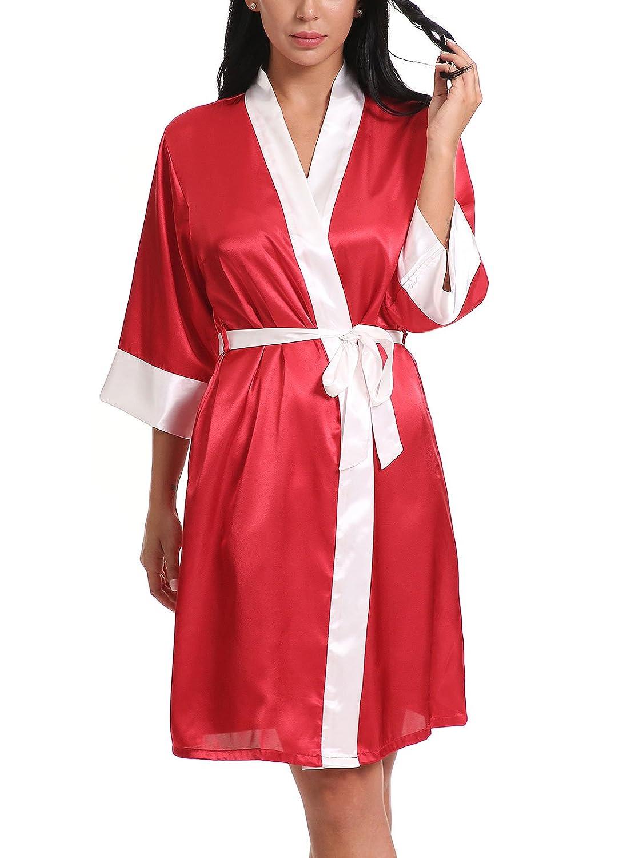 00564580b680 FasiCat Women Sexy Sleepwear Bathrobes Lingerie Satin Kimono Robes  Nightgown at Amazon Women s Clothing store