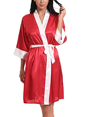 FasiCat Women Bathrobes Satin Kimono Robes Bridal Dressing Gown Silky  Wedding Bride Bridesmaid Kimono Red f3645056c