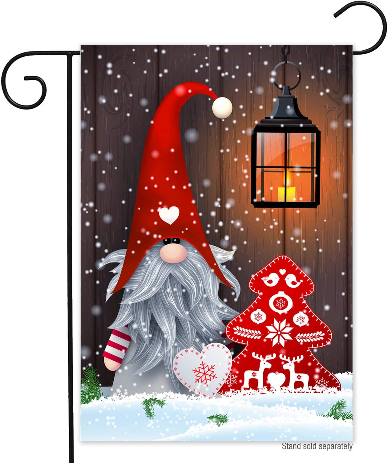 Winter Christmas Gnome Garden Flag-12x18 Double Sided Holiday Xmas Snowflak Seasonal Vertical Garden Yard Flags Banner for Lawn House Christmas Outside Decorations