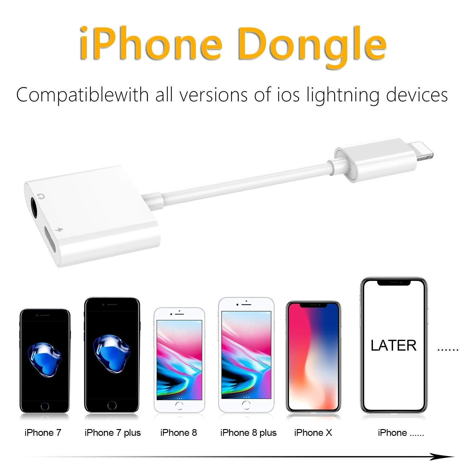 Headphone Adapter for iPhone Adaptor 3.5mm Jack Dongle Earphone Connector Convertor 2 in 1 Music Accessories Charger Cables Charge /& Audio Compatible for iPhone 8// X//XS MAX//XR// 8Plus// 7//7 Plus-White