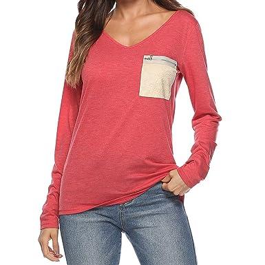 0b843d36a887d SOMESUN Marine Rouge Verte T-Shirt à Manches Longues Et pour Femmes Tee- Shirt Col V avec Poche GlissièRe Femme CoréEnne éTudiants éTudiants Sauvage  Tendance ...