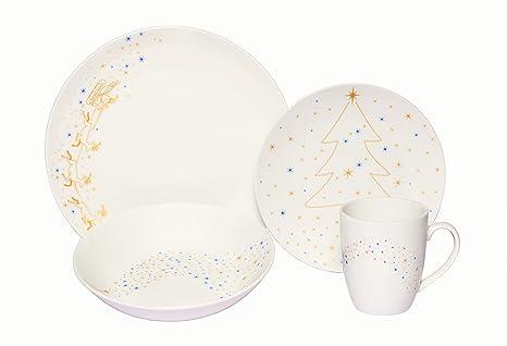 4 Each Vintage Christmas Service For 4 Melange Coupe 16 Piece Porcelain Dinnerware Set Tabletop Dinnerware Sets
