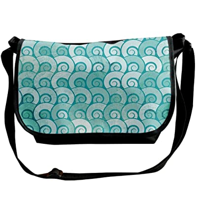 Lovebbag Abstract Swirled Sea Waves Pattern Spiral Forms Marine Theme Curvy Aquatic Artwork Print Crossbody Messenger Bag