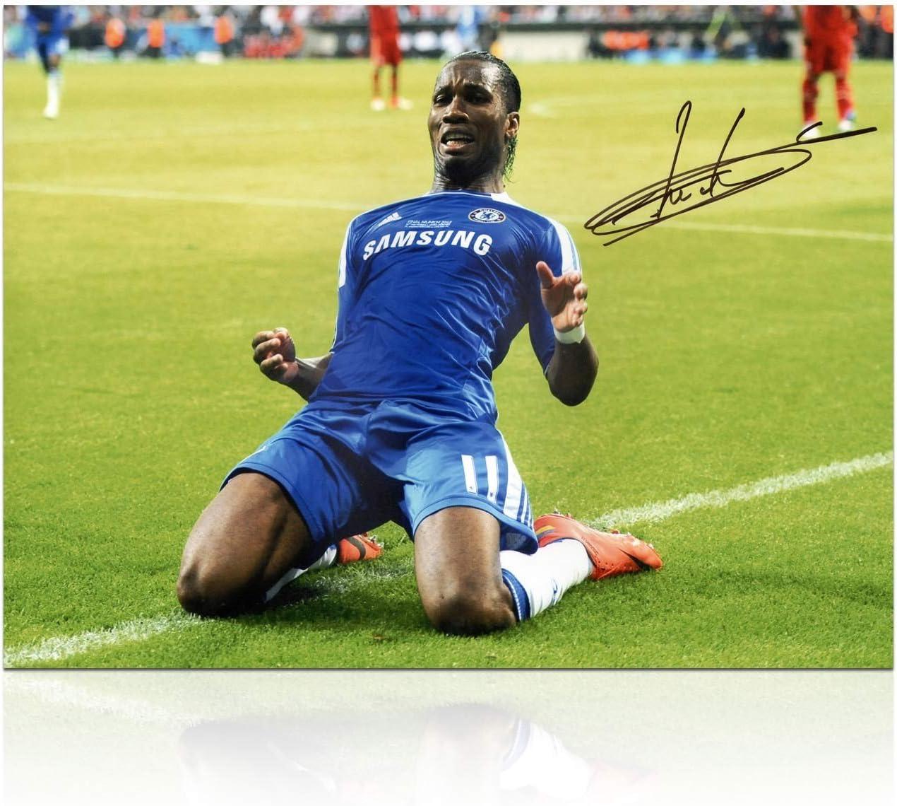 Didier Drogba del Chelsea Football Firmado Foto: Liga de Campeones ...