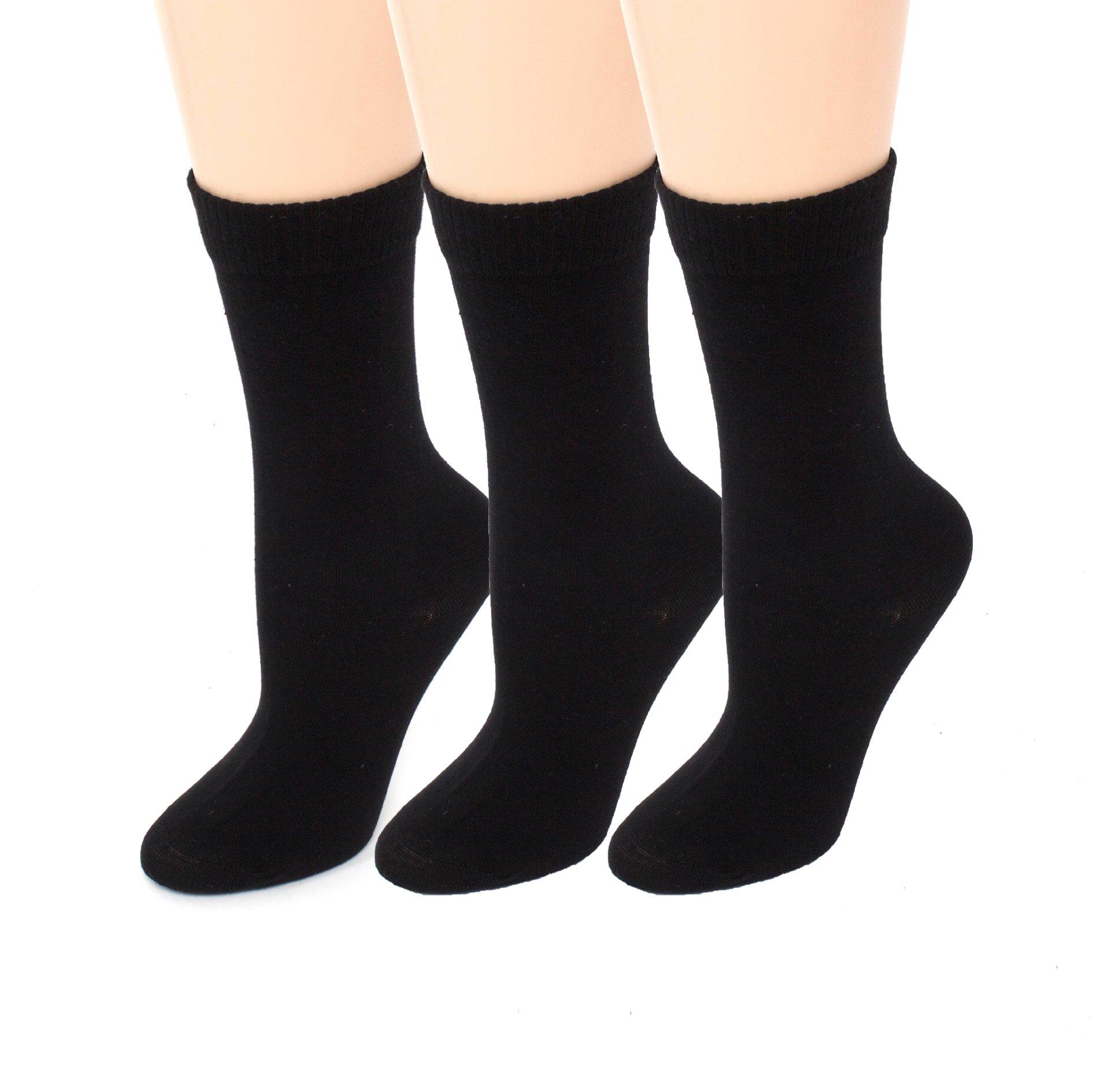 Diabetic Socks   Womens Black Crew 3 Pack   Seamless Toe   Non-Binding Top   Sock Size 9-11   Improve Foot Health Comfort Circulation for Diabetes, Varicose Veins, Maternity Pregnancy