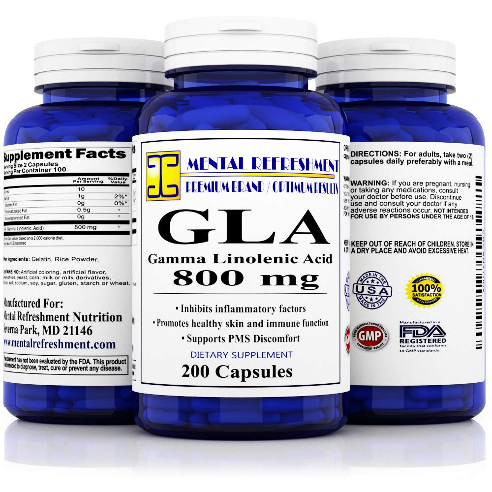 Pure GLA Oil - Gamma Linolenic Acid - Concentrated Emulsified Dry - 800mg per Serving - Best Value, Max Strength, All Natural - Supports Smooth & Healthy Skin and Hormonal Balance. by Mental Refreshment Nutrition