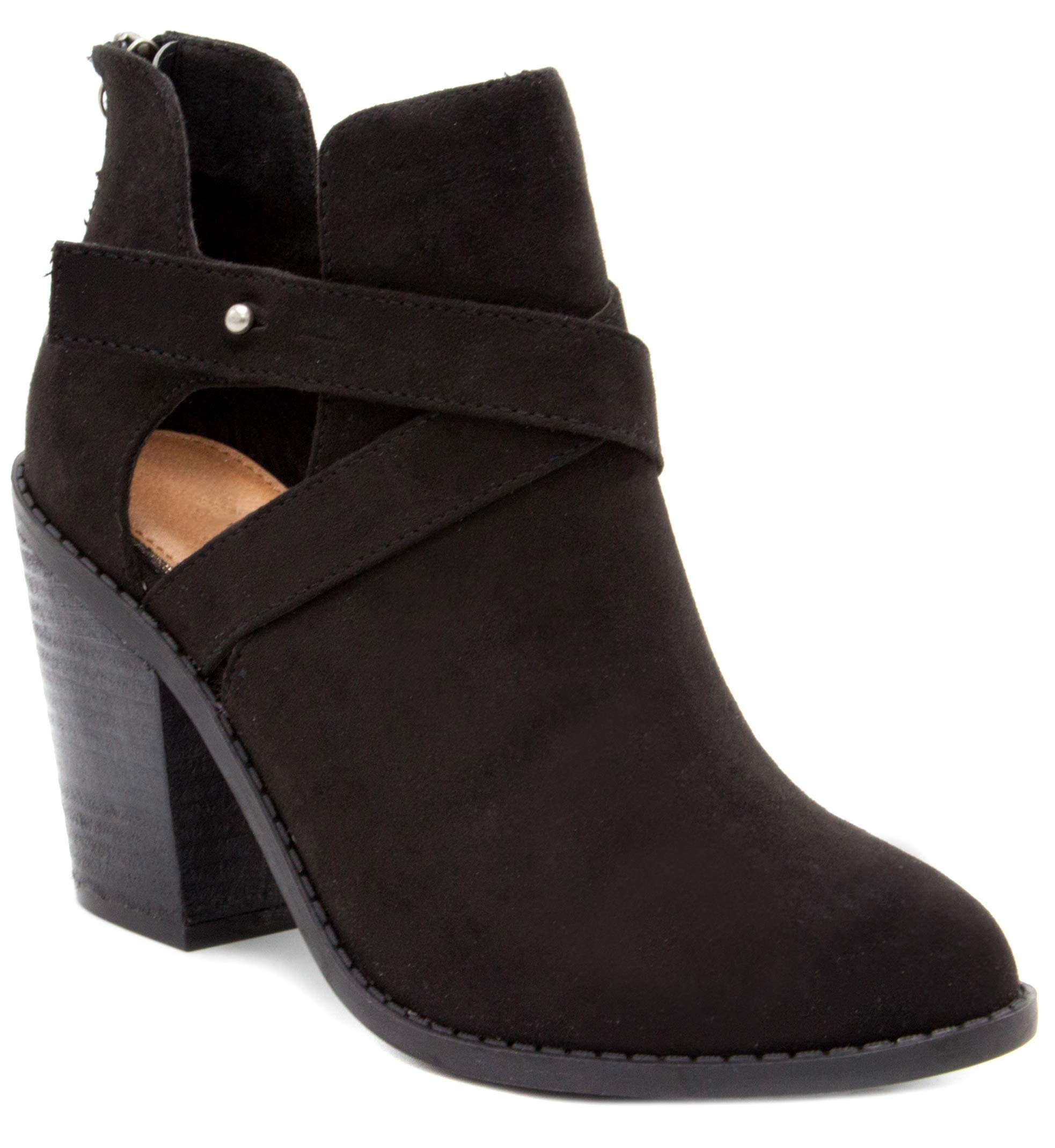 Sugar Women's Venti Transitional Block Heel Ankle Boot Ladies Bootie with Criss Cross Straps and Back Zip Black 7.5
