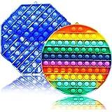Big Pop Bubble Fidget Sensory Toy 2 Pack Set - Tie Dye Octagon Round Huge Gaint Jumbo Popper Autism Anxiety ADHD Stress…
