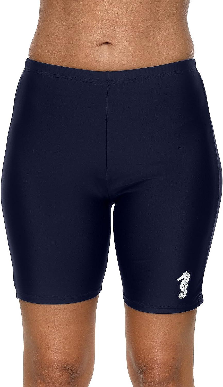 anfilia Womens Long Board Shorts High Waist Swim Shorts Swimsuit Bottom