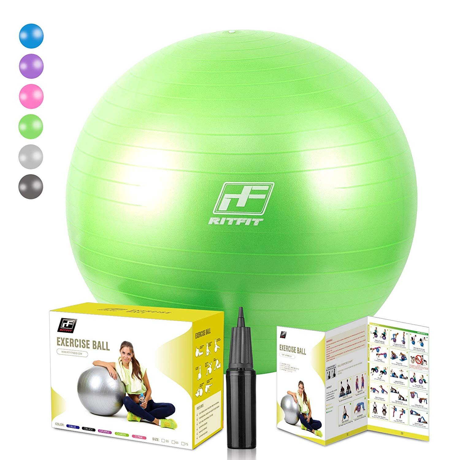 RitFit 2000lbs Exercise Stability Ball, Anti Burst for Pilates Yoga Gym Fitness,Use As Desk Chair, Hand Pump& Workout Guide Included,Gym Quality (Green, 75cm) by RitFit