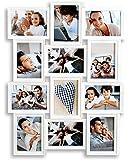 Bilderrahmen 96132 inklusiv Schrauben - Weiß für 12 Fotos 13x18 cm - Hochformat Querformat Fotogalerie Collage Fotorahmen Bildergalerie Fotocollage