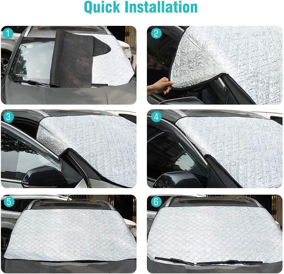 Anti-Sunburn//Anti-Wind//Anti-Fog Large Sunshade Windshield Cover Fits Most Cars Tsumbay Car Windshield Sun Shade Blocks UV Rays Sun Visor Protector,Sun Cover for Car 4 Layers of Protection Sunshade