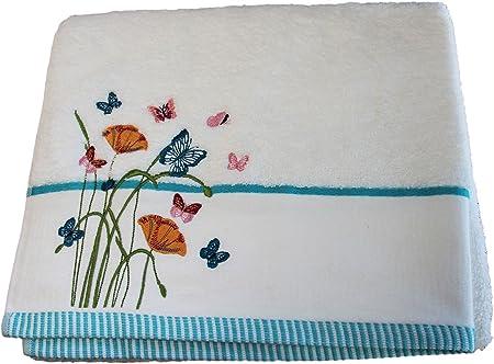 HOMESCAPES Toalla de baño algodón Egipcio con Mariposas y Flores Bordadas: Amazon.es: Hogar