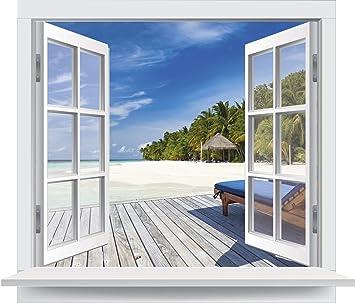 Offenes fenster  Premiumdesign Wandtattoo offenes Fenster Strandausblick in ...