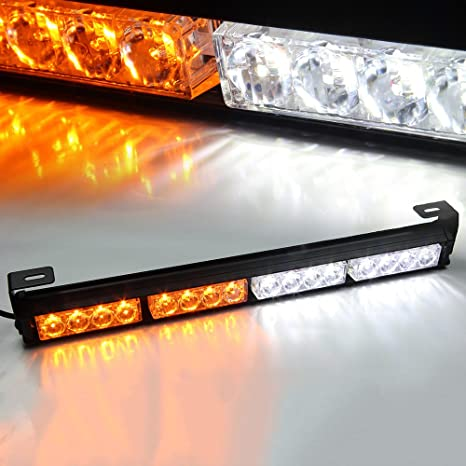 Vehicle Strobe Lights >> Xprite 18 Emergency Warning Traffic Advisor Vehicle Strobe Light Bar White Amber