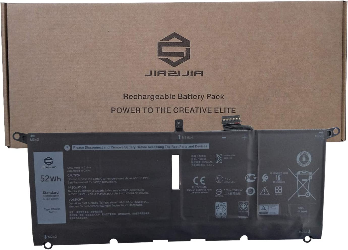 JIAZIJIA DXGH8 Laptop Battery Replacement for Dell XPS 9370 9380 7390 Inspiron 5390 5391 7490 Latitude 3301 E3301 Vostro 5390 5391 Series Notebook 0H754V H754V 0V48RM V48RM HK6N5 7.6V 52Wh 6500mAh