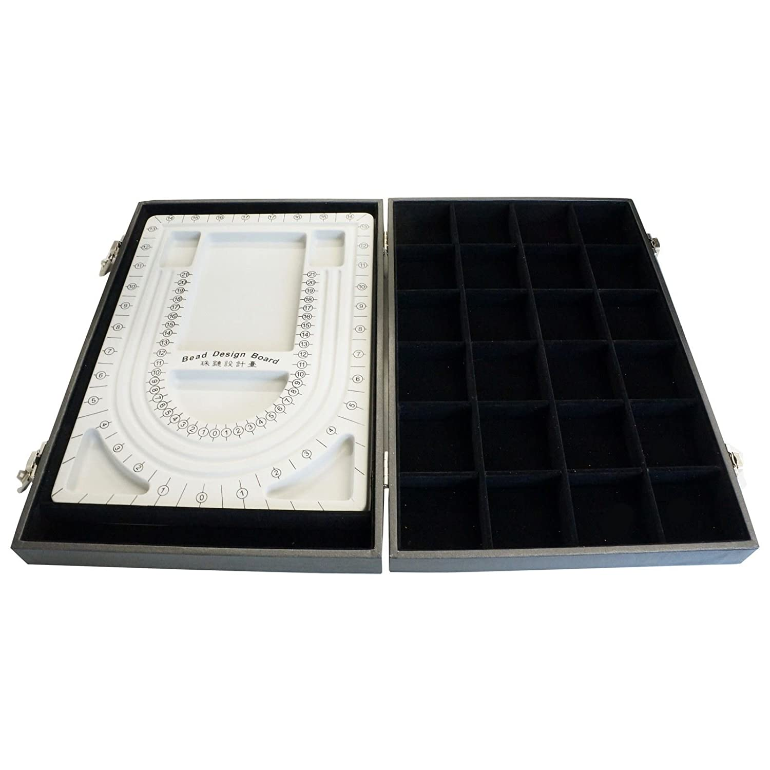 Black Bead Design Board Case Box w 24 Compartments for Beads n Jewelry Findings Princess-J