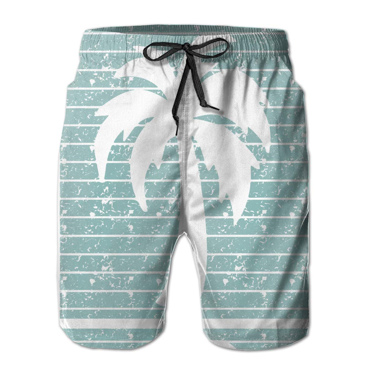 HZamora/_H Mens California Republic Turquoise Palm Summer Breathable Quick-Drying Swim Trunks Beach Shorts Cargo Shorts