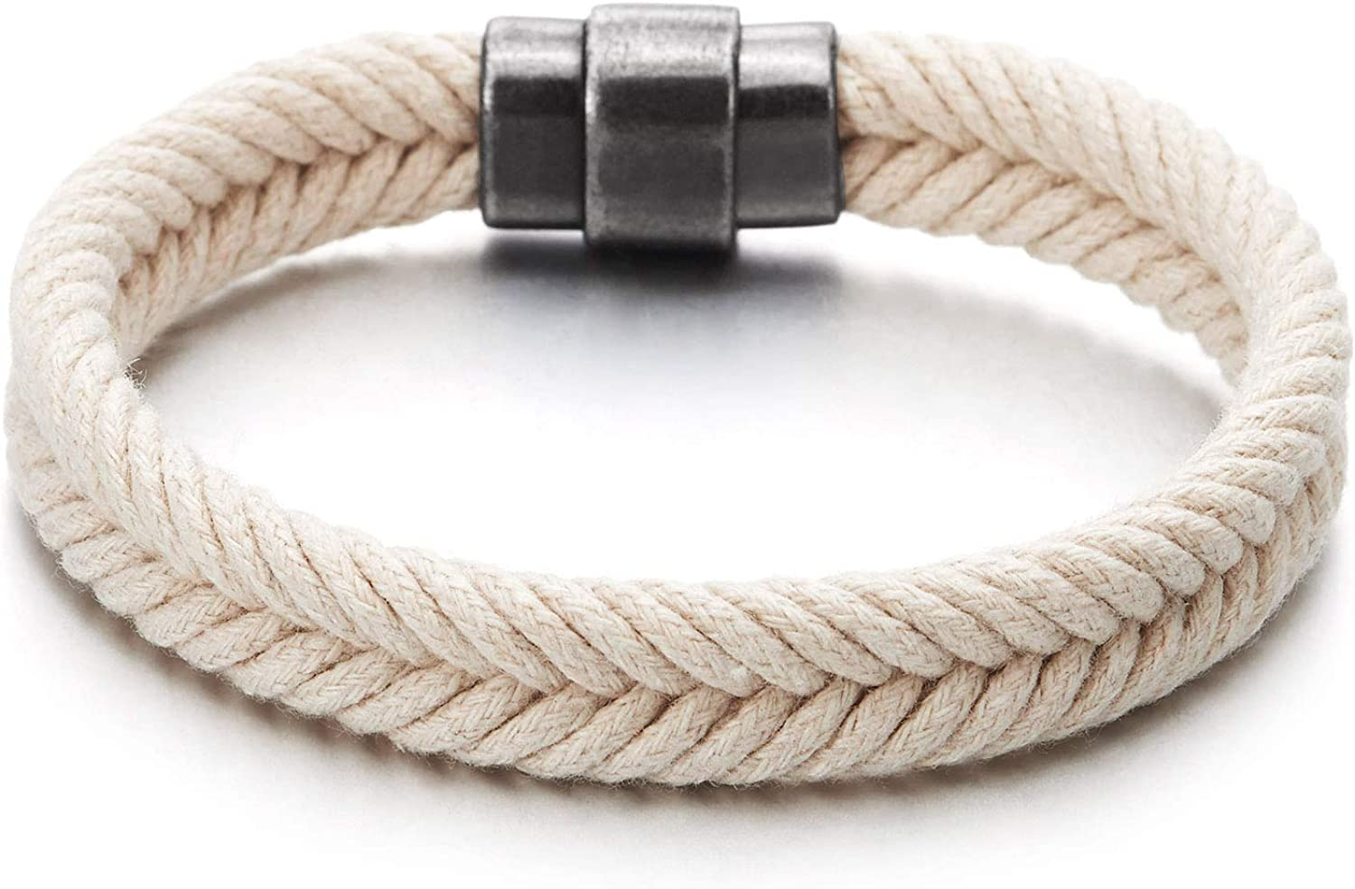 COOLSTEELANDBEYOND Mens Womens White Braided Cotton Rope Bangle Bracelet with Magnetic Clasp, Summer Accessories