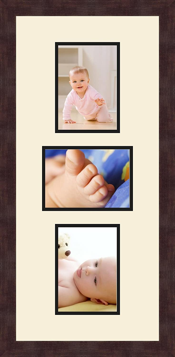 Art to Frames Double-Multimat-213-716//89-FRBW26061 Collage Frame Photo Mat Double Mat with 3-5x7 Openings and Espresso Frame
