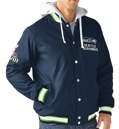 Seattle Seahawks NFL  quot Glory quot  Super Bowl Commemorative Varsity  Hooded Jacket 5116c48c9