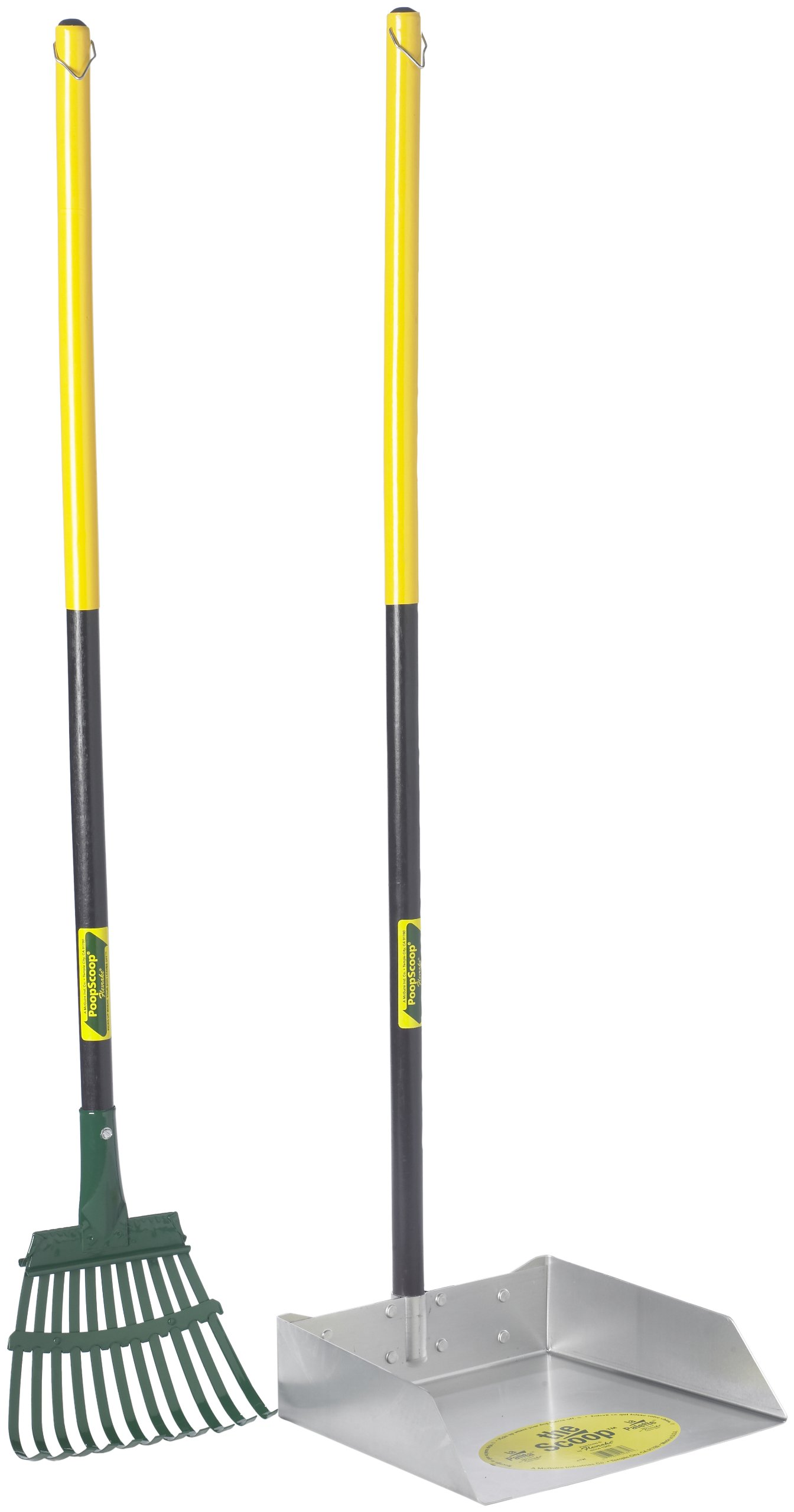 Flexrake 68W Large Scoop and Steel Rake Set with 36-Inch Cherry Stained Wood Handle