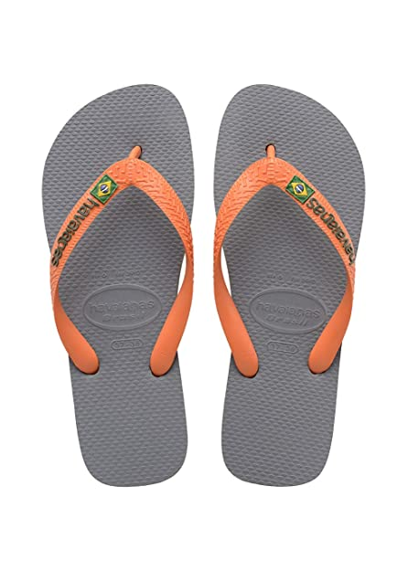 Havaianas Unisex-Erwachsene Zehentrenner Mehrfarbig (Steel Grey/Neon Orange) 39/40 EU (37/38 Brazilian)