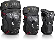 JBM BMX Bike Knee Pads and Elbow Pads with Wrist Guards Protective Gear Set for Biking, Riding, Cycling and Multi Sports Safe