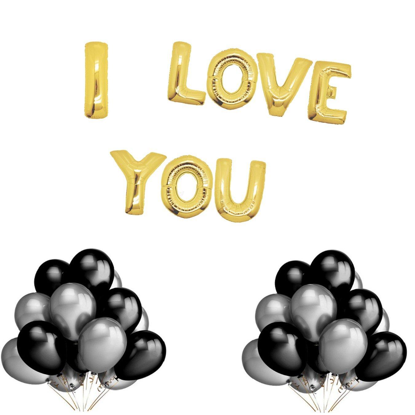 I LOVE U Helium Balloon Gold Decoration Set, Black Balloons for Wall Decorations,Party Decorations, Lover's Birthday and Big day