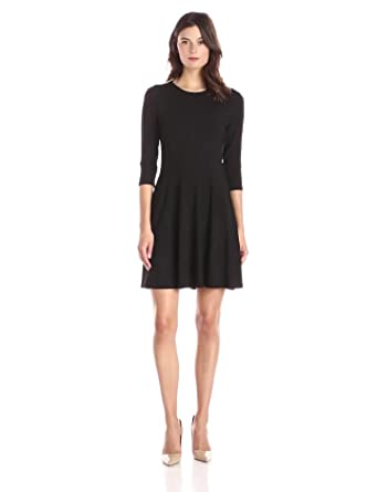 Lark & Ro Women's 3/4 Sleeve Knit Fit and Flare Dress, Black, X-Small