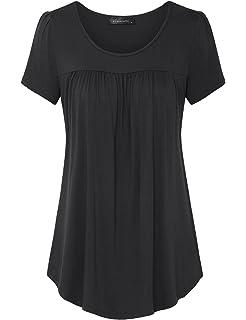 aa980604385 Halife Women's Short Sleeve Scoop Neck Pleated Blouse Top Tunic ...