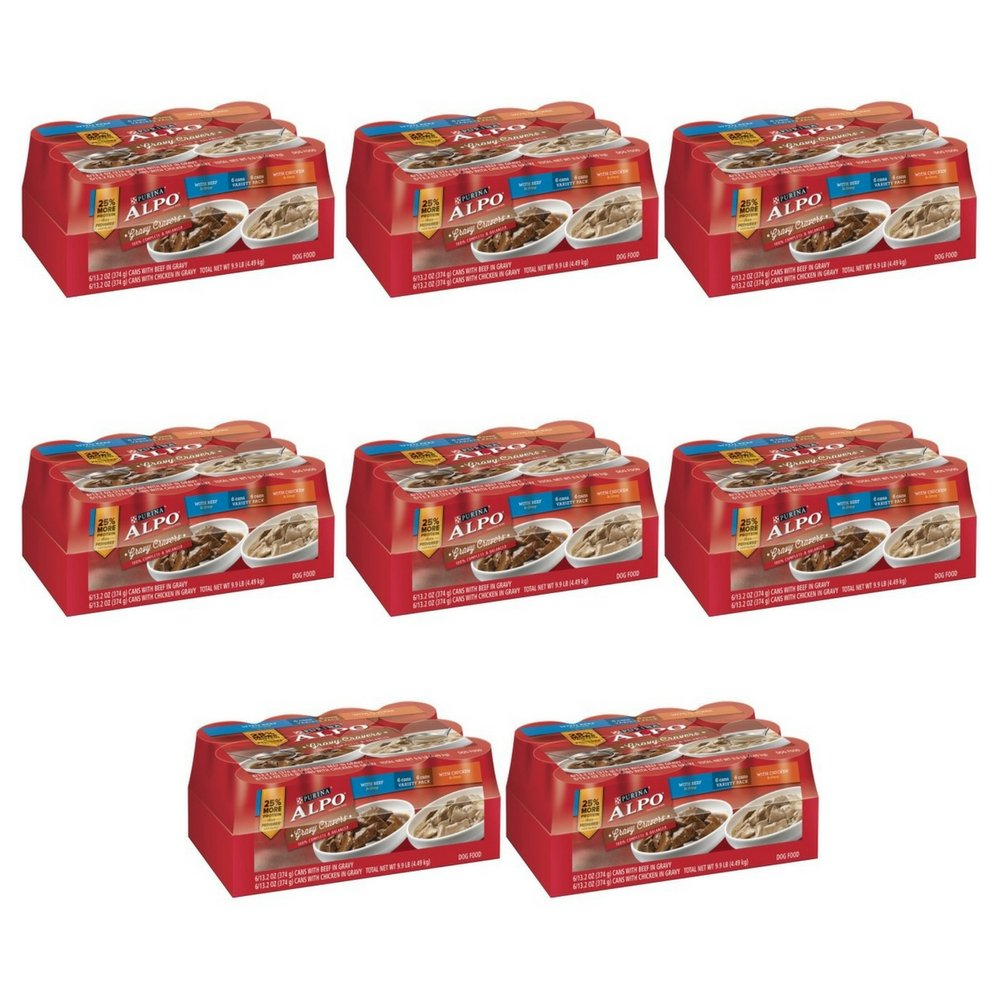 Purina ALPO Gravy Cravers Beef & Chicken Variety Pack Adult Wet Dog Food - (12) 13.2 oz. Cans (PACK OF 8)
