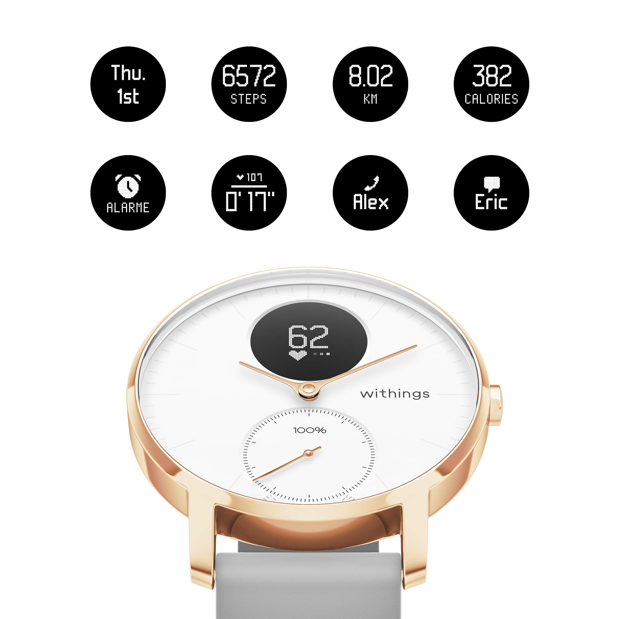 Withings / Nokia | Steel HR Hybrid Smartwatch - Activity Tracker with Connected GPS, Heart Rate Monitor, Sleep Monitor, Water Resistant Smart Watch with 25-day battery life (Renewed) by Withings (Image #3)