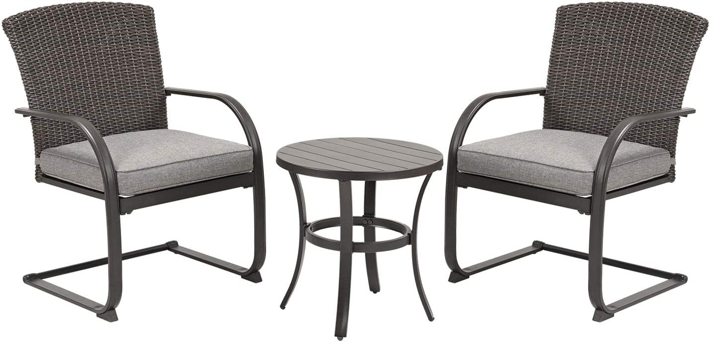Grand patio 3 Piece Outdoor Bistro Set,Resin Wicker Patio Spring Chair and Metal Table, Furniture Set with Grey Cushion