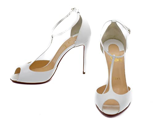 e4a4487ca12 Christian Louboutin Senora White Patent Leather T-Strap Red Sole Pumps   Amazon.ca  Shoes   Handbags