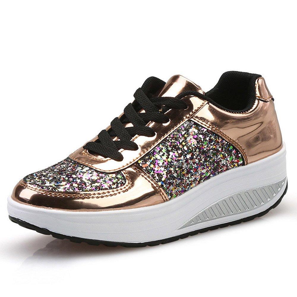 Zapatos Lentejuelas deportes con correa, Sonnena Zapatillas de mujer con cuñas de mujer con lentejuelas Zapatos de Hip-hop Zapatillas de deporte de chicas de moda