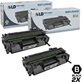 LD © Compatible Replacements for Hewlett Packard CF280A HP 80A Set of 2 Black Laser Toner Cartridges for use in the LaserJet Pro 400 M401dn, 400 M401dne, 400 M401dw, 400 M401n, 400 M425dn