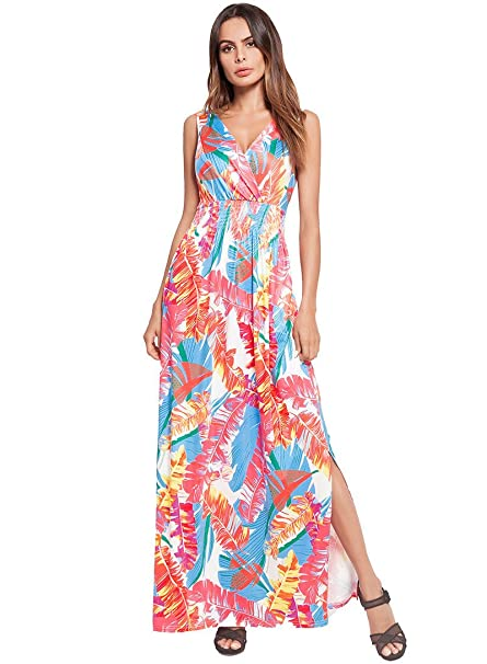 5ea4f84a0985 JiaCH Summer Beach Dress, Floral Print Long Beach Dress Sexy Backless V  Neck Split Dresses