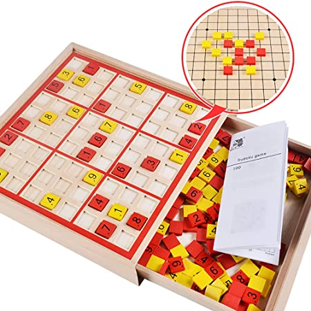 EVR Sudoku Educate de Madera con Coloridos Cubos numéricos Entrena la comprensión de los números Madera Sudoku Juegos de Mesa,Rojo: Amazon.es: Hogar