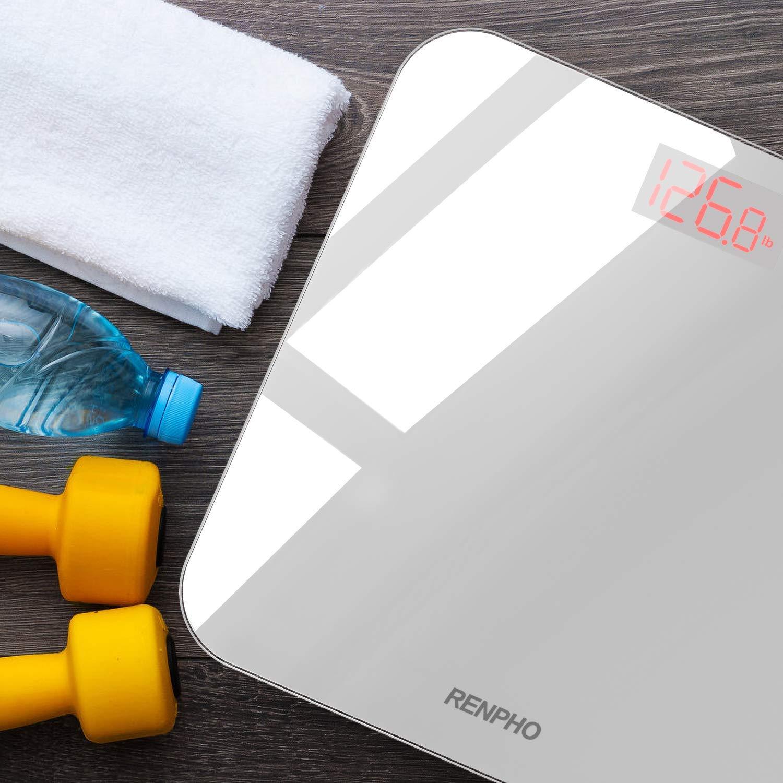 Capacit/à 180kg//400lb Bianco RENPHO Bilancia Pesa Persone Digitale Intelligente con App Smartphone Bilancia Pesapersone BMI Bluetooth Bilancia di Precisione con Lettura Grande LED Display