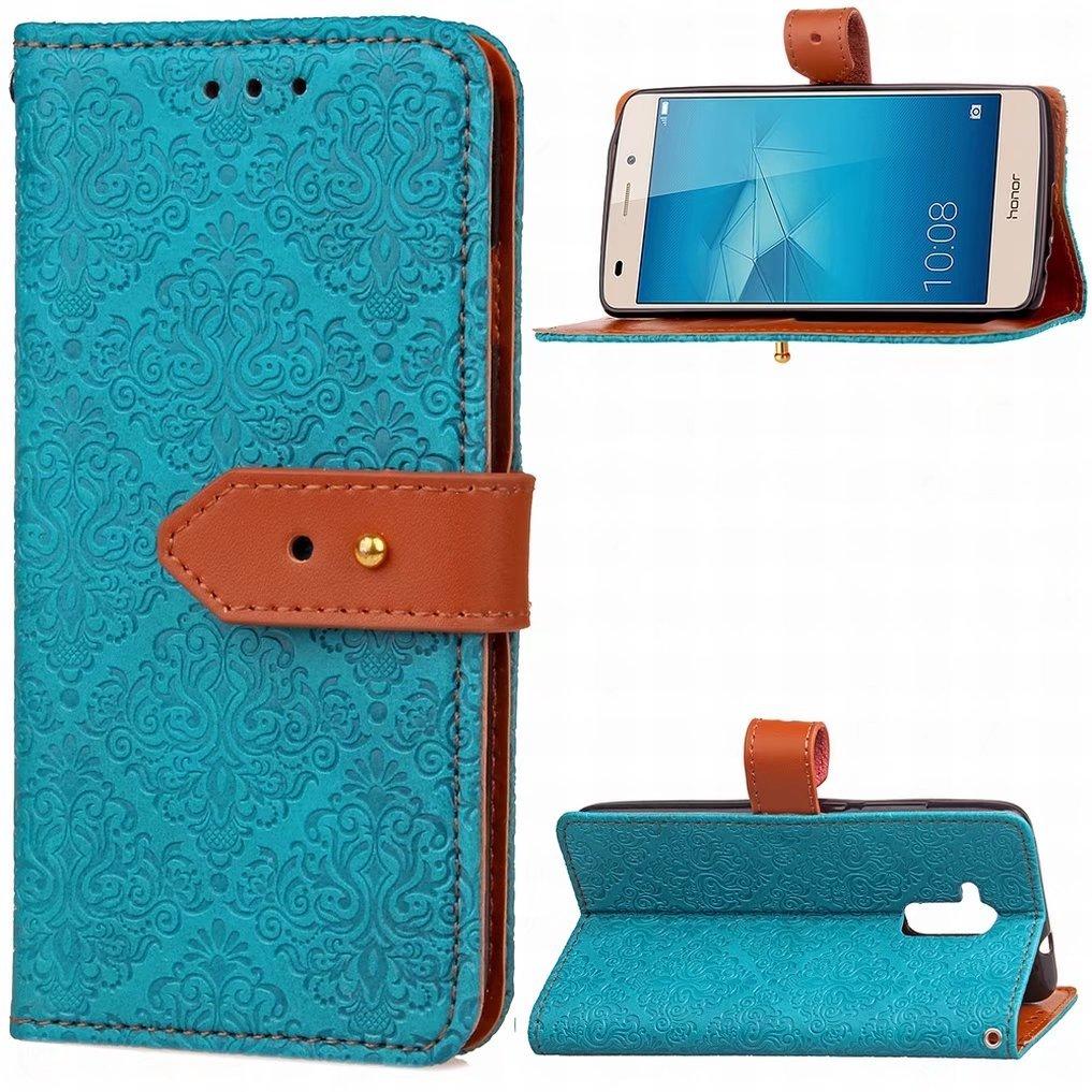 GT3 Etui Bleu Classiques Housse PU Cuir Magn/étique Silicone Protecteur Flip Pochette Caoutchouc Cover avec Fente pour Carte Ougger Coque pour Huawei Honor 5c
