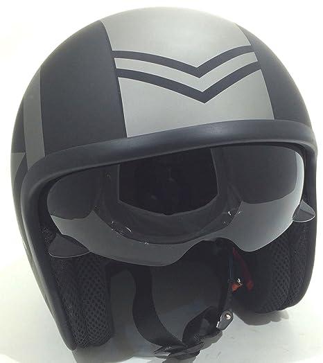 Amazon.es: Casco de la Motocicleta Jet Casco Cascos Abiertos VIPER RS-V06 Casco de Moto Con Visera Nuevos Colores (M, Matt Negro Star)