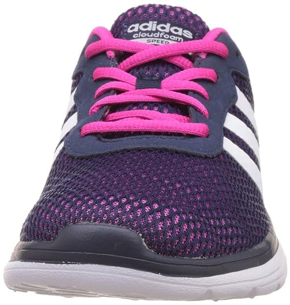 adidas Cloudfoam VS City W, Chaussures de Sport Femme, Blanc/Rose/Bleu (Blanc Footwear/Rose Shocking/Bleu), 40 2/3 EU