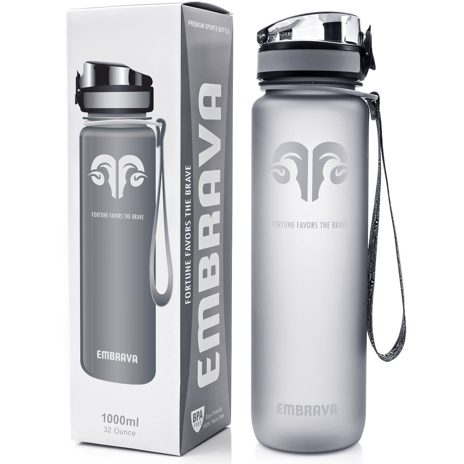 Embrava Best Sports Water Bottle - 32oz Large - Fast Flow  Flip Top Leak Proof Lid w One Click Open - Non-Toxic BPA Free   Eco-Friendly Tritan Co-Polyester Plastic
