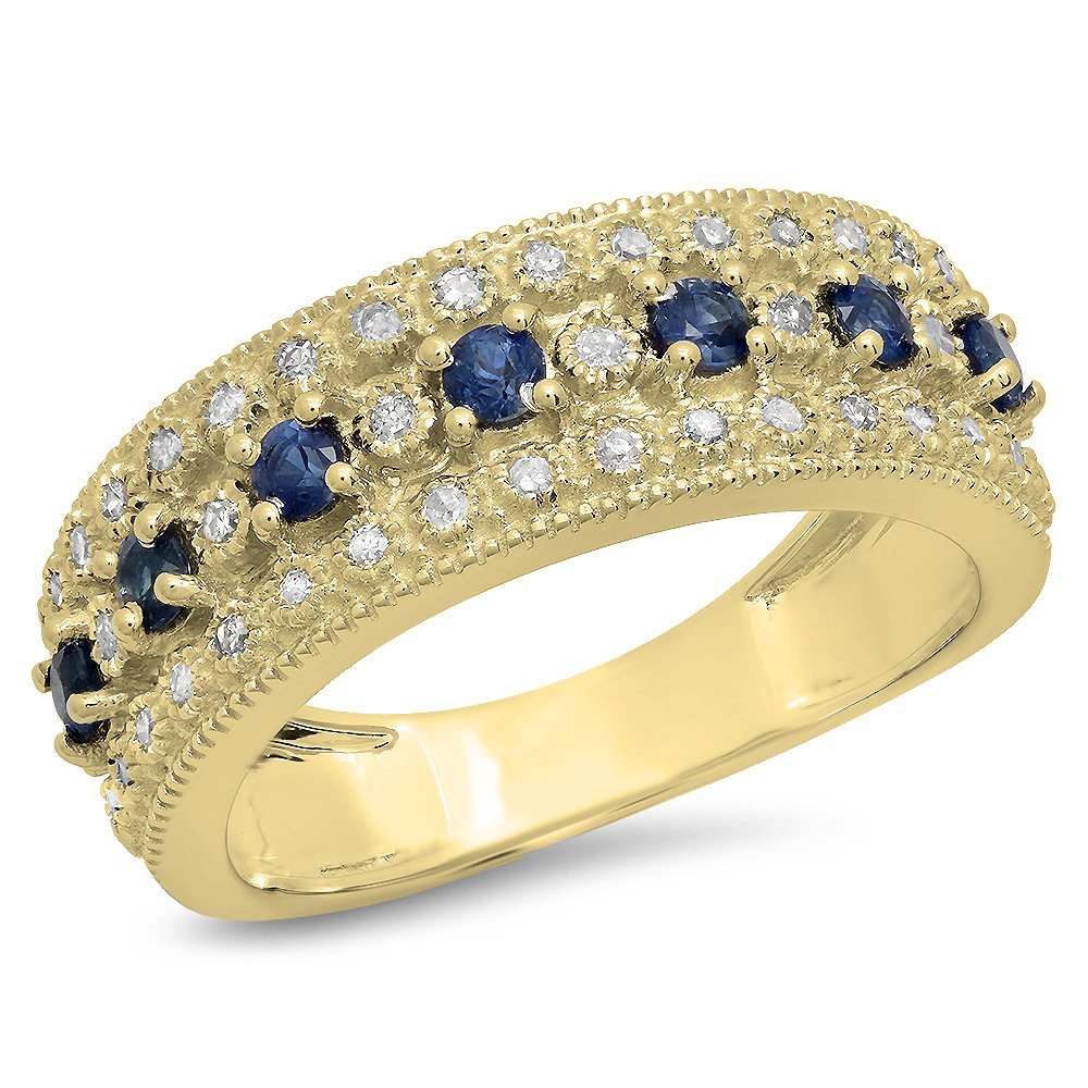 Dazzlingrock Collection 10K Round Blue Sapphire & White Diamond Ladies Bridal Anniversary Wedding Ring, Yellow Gold, Size 5.5